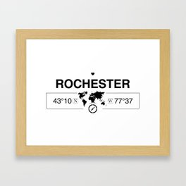 Rochester New York Map GPS Coordinates Artwork with Compass Framed Art Print