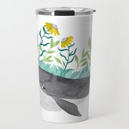 whale with mustard flowers watercolor Travel Mug