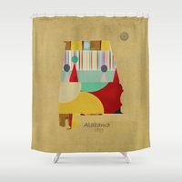 alabama Shower Curtains featuring Alabama state map  by bri.buckley