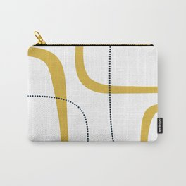 Mustard Rings Midcentury Modern Minimalist Abstract with Navy Blue and White Carry-All Pouch