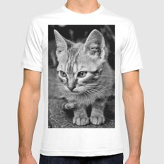 Kitty Cat White Mens Fitted Tee MEDIUM