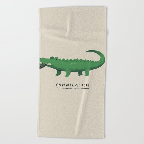 croc cannibalism Beach Towel