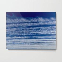 Blue skies wispy clouds Metal Print