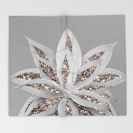 Gray Agave with Rose Gold Glitter #1 #shiny #tropical #decor #art #society6 Throw Blanket
