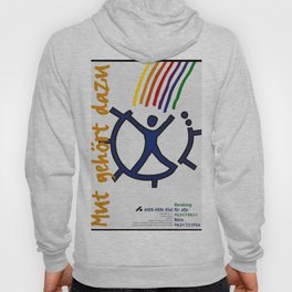 A figure at the centre of a broken wheel entered by multicoloured lines; representing help for AIDS Hoody