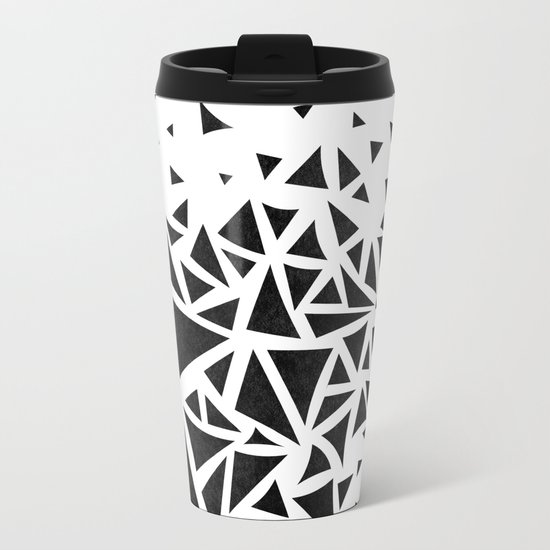 B&W geometric  pattern 01 Metal Travel Mug