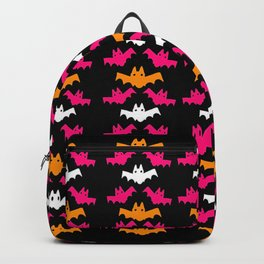 Orange, Pink, and White Halloween Bat Pattern Backpack