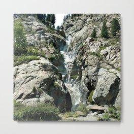 waterfall rope bridge kaunertal alps tyrol austria europe 1 Metal Print