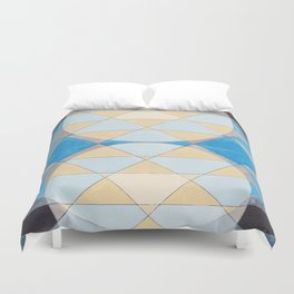 Triangle Pattern No. 14 Circles in Black, Blue and Yellow Duvet Cover