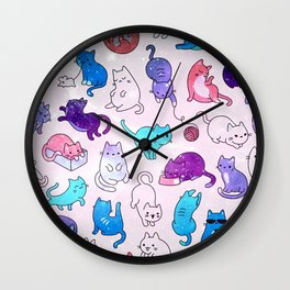 Space Cats Pattern Wall Clock