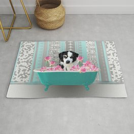 Bathtub with Lotos flowers and black and withe dog Rug