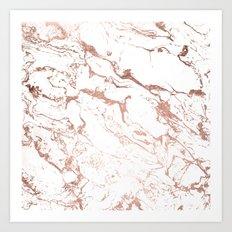 Modern chic faux rose gold white marble pattern Art Print