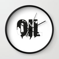 oil Wall Clocks featuring Oil by UP studio