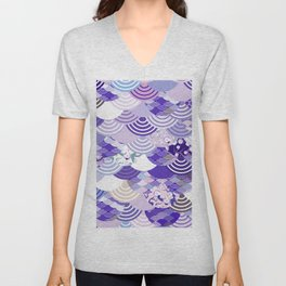 Nature background with japanese sakura flower, Cherry, wave circle. Ultra Violet Color of the Year Unisex V-Neck