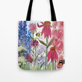 Watercolor Acrylic Cottage Garden Flowers Tote Bag