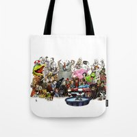 horror Tote Bags featuring the horror....THE HORROR by poopsmoothie