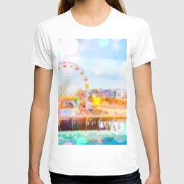 Santa Monica pier, California, USA with colorful bokeh abstract T-shirt