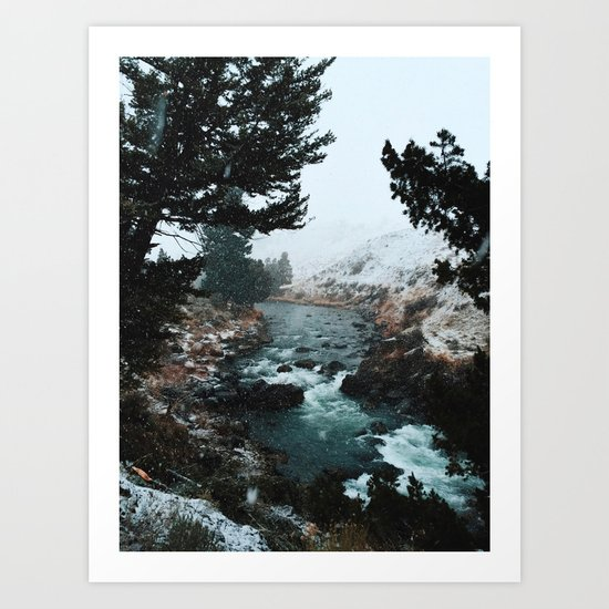 Rustic Creek in snow Art Print