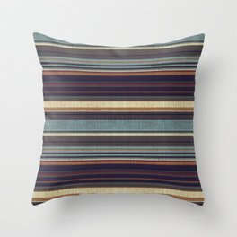 """Blue lines burlap"" Throw Pillow"