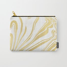 Bronze Copper Gold Rush Marble Ink Swirl Carry-All Pouch