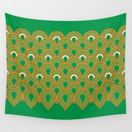 retro sixties inspired fan pattern in green and orange Wall Tapestry