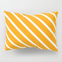 Neon Orange Diagonal Stripes Pillow Sham