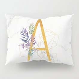 Modern glamorous personalized gold initial letter A, Custom initial name monogram gold alphabe Pillow Sham