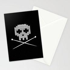 Knitted Skull (White on Black) Stationery Cards