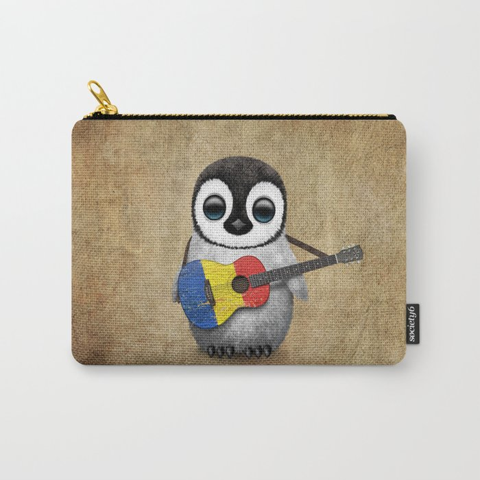 Baby Penguin Playing Romanian Flag Acoustic Guitar Carry-All Pouch