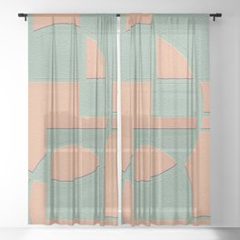 Circular Squares and Rectangles Sheer Curtain