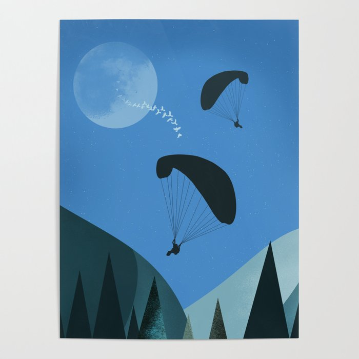 Landscape with Paragliders Poster