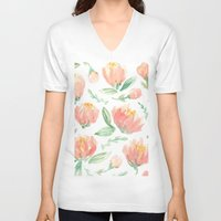 peonies V-neck T-shirts featuring peonies by Golden Girl Art