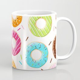 Colorful top view donuts and sprinkles pattern Coffee Mug