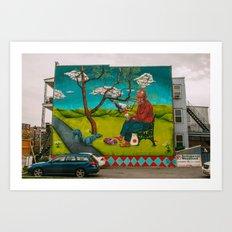 Woodland Restaurant Mural.  Art Print