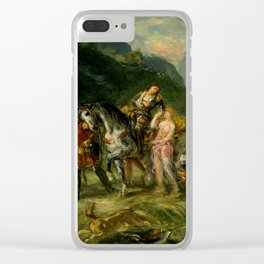 "Eugène Delacroix ""Angelica and the wounded Medoro"" Clear iPhone Case"