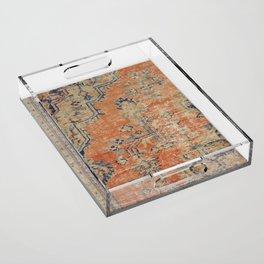 Vintage Woven Navy and Orange Acrylic Tray