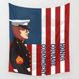Honor, Courage & Commitment Wall Tapestry