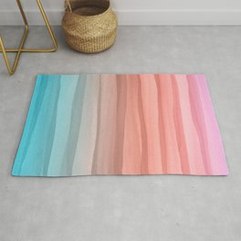 Colorful Watercolor Lines Pattern Rug