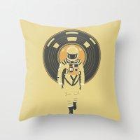 dj Throw Pillows featuring DJ HAL 9000 by Robert Farkas