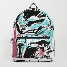 Fitted: A color ink skull on watercolor paper Backpack