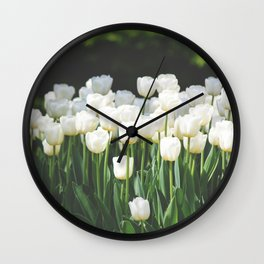 Field of White Tulips Wall Clock