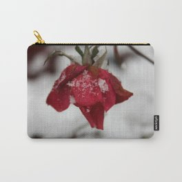 Red Rose Kissed by the Snow Carry-All Pouch