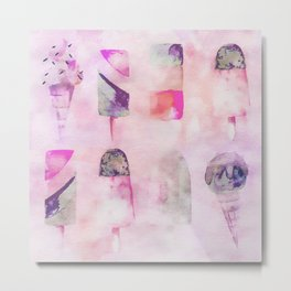 Ice Cream popsicles pastel tone watercolor art Metal Print