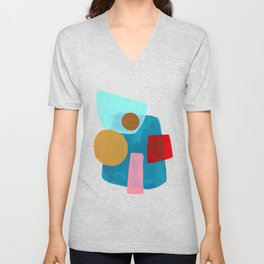 Minimalist Abstract Fun Mid Century Colorful Shapes Pink Red Yellow Pastel Teal Blue Fun Geometric Unisex V-Neck
