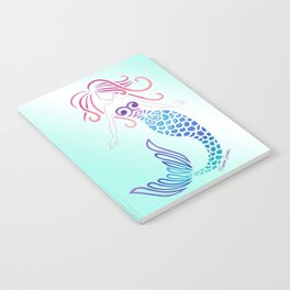 Tribal Mermaid with Ombre Turquoise Background Notebook