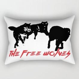 Running Wolves [White] Rectangular Pillow
