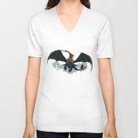 skyrim V-neck T-shirts featuring Riders of Skyrim  by Abby Trantina