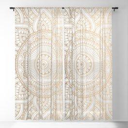 Gold Mandala Pattern Illustration With White Shimmer Sheer Curtain