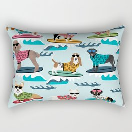Surfing Dogs - cute summer tropical dogs surfing Rectangular Pillow