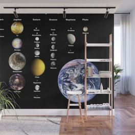 Selected Moons in the Solar system with Earth for scale Wall Mural